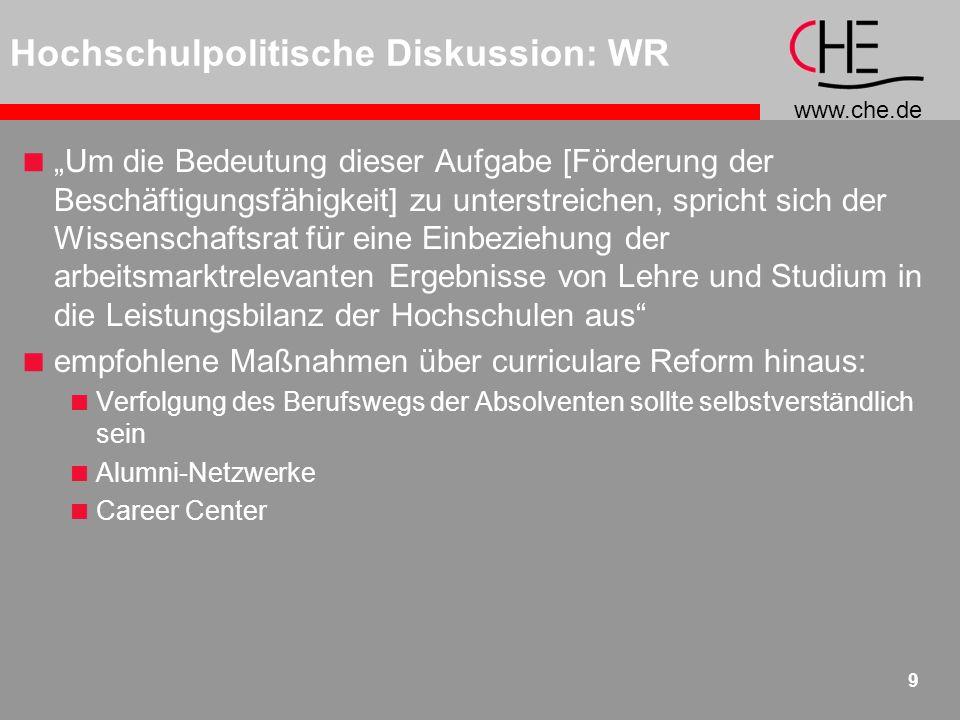 www.che.de 10 Der Wissenschaftsrat empfiehlt deshalb, inhaltlich und nach Möglichkeit auch räumlich integrierte Angebote (z.B.