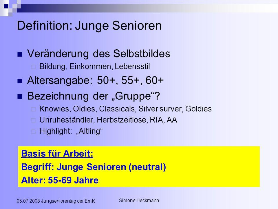 Simone Heckmann 05.07.2008 Jungseniorentag der EmK Definition: Junge Senioren Veränderung des Selbstbildes Bildung, Einkommen, Lebensstil Altersangabe: 50+, 55+, 60+ Bezeichnung der Gruppe.