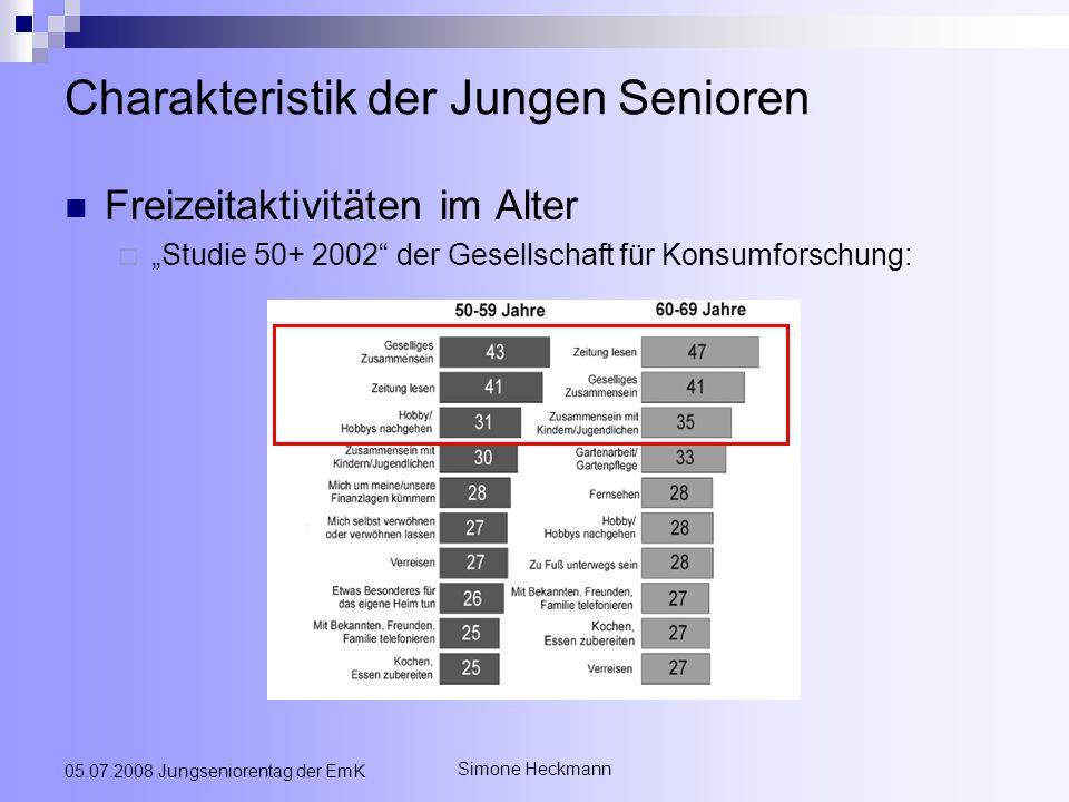 Simone Heckmann 05.07.2008 Jungseniorentag der EmK Charakteristik der Jungen Senioren Freizeitaktivitäten im Alter Studie 50+ 2002 der Gesellschaft fü