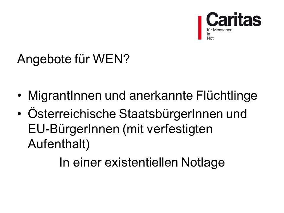 Angebote für WEN? MigrantInnen und anerkannte Flüchtlinge Österreichische StaatsbürgerInnen und EU-BürgerInnen (mit verfestigten Aufenthalt) In einer