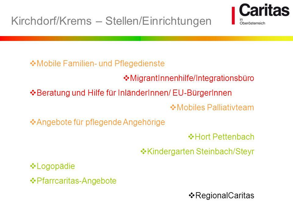 Kirchdorf/Krems – Stellen/Einrichtungen Mobile Familien- und Pflegedienste MigrantInnenhilfe/Integrationsbüro Beratung und Hilfe für InländerInnen/ EU