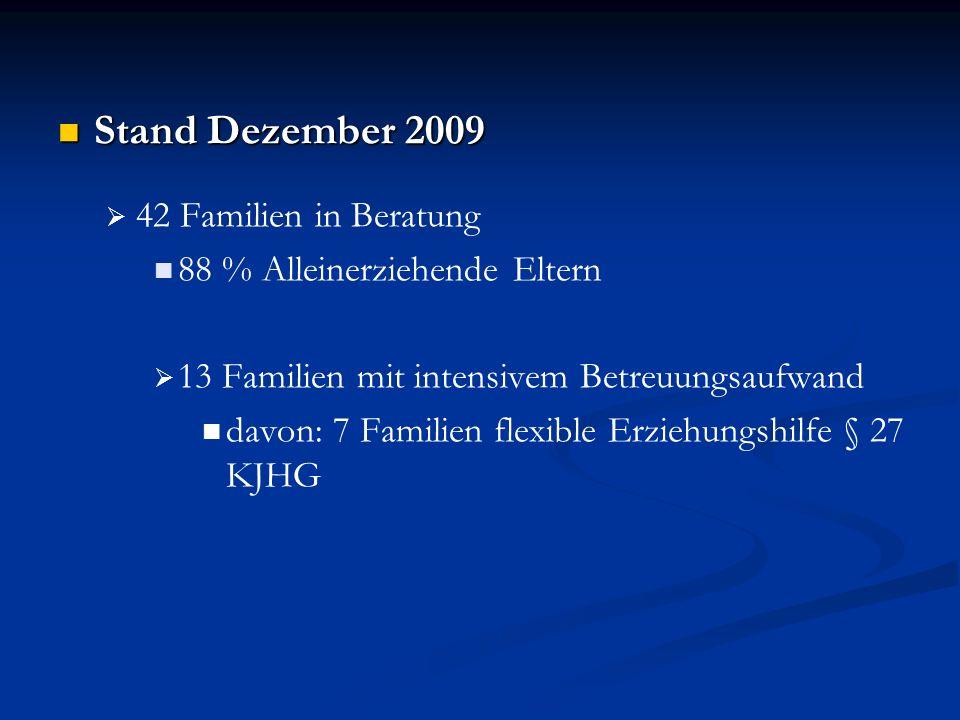 Stand Dezember 2009 Stand Dezember 2009 42 Familien in Beratung 88 % Alleinerziehende Eltern 13 Familien mit intensivem Betreuungsaufwand davon: 7 Fam