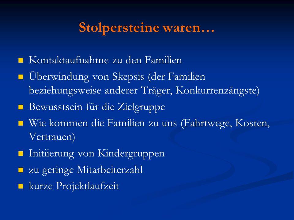 Stolpersteine waren… Kontaktaufnahme zu den Familien Überwindung von Skepsis (der Familien beziehungsweise anderer Träger, Konkurrenzängste) Bewusstse