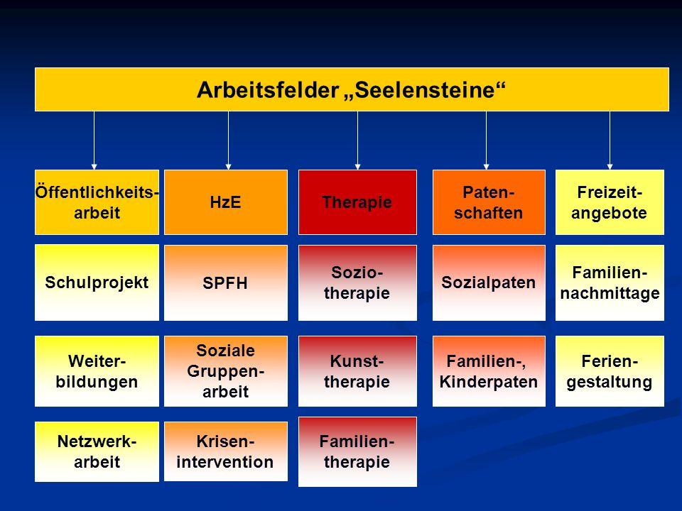Arbeitsfelder Seelensteine Schulprojekt HzE SPFH Soziale Gruppen- arbeit Therapie Sozio- therapie Weiter- bildungen Netzwerk- arbeit Paten- schaften S