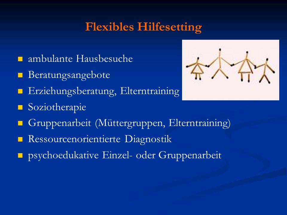 Flexibles Hilfesetting ambulante Hausbesuche Beratungsangebote Erziehungsberatung, Elterntraining Soziotherapie Gruppenarbeit (Müttergruppen, Elterntr