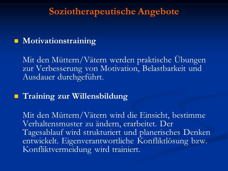 Motivationstraining Mit den Müttern/Vätern werden praktische Übungen zur Verbesserung von Motivation, Belastbarkeit und Ausdauer durchgeführt. Trainin