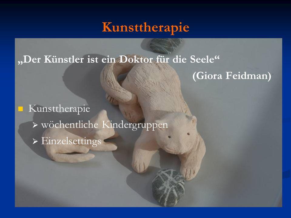 Kunsttherapie Der Künstler ist ein Doktor für die Seele (Giora Feidman) Kunsttherapie wöchentliche Kindergruppen Einzelsettings