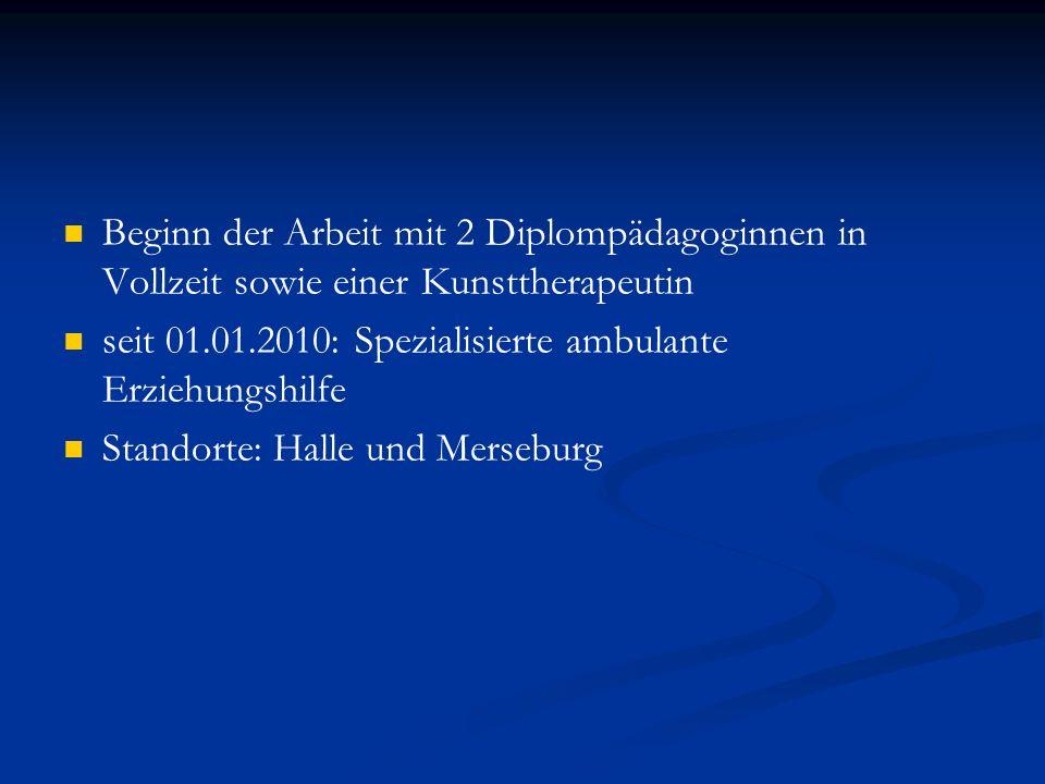 Beginn der Arbeit mit 2 Diplompädagoginnen in Vollzeit sowie einer Kunsttherapeutin seit 01.01.2010: Spezialisierte ambulante Erziehungshilfe Standort