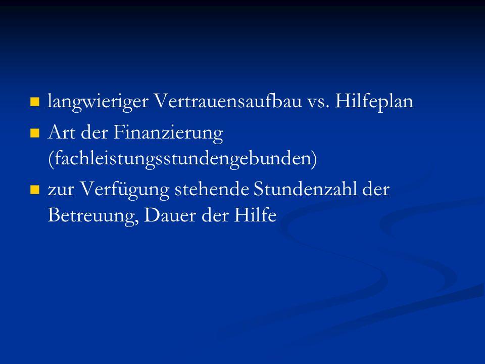 langwieriger Vertrauensaufbau vs. Hilfeplan Art der Finanzierung (fachleistungsstundengebunden) zur Verfügung stehende Stundenzahl der Betreuung, Daue