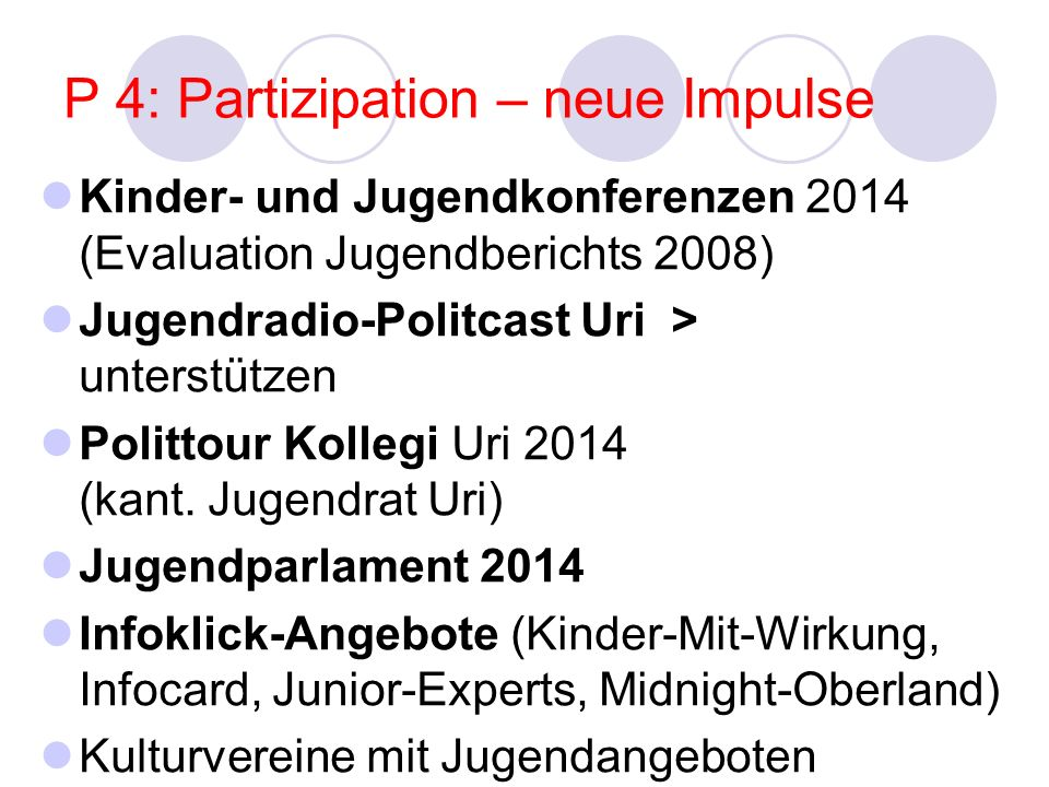 P 4: Partizipation – neue Impulse Kinder- und Jugendkonferenzen 2014 (Evaluation Jugendberichts 2008) Jugendradio-Politcast Uri > unterstützen Polittour Kollegi Uri 2014 (kant.