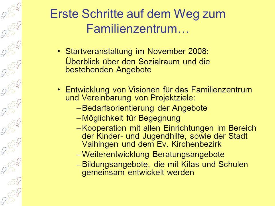 Erste Schritte auf dem Weg zum Familienzentrum… Startveranstaltung im November 2008: Überblick über den Sozialraum und die bestehenden Angebote Entwic