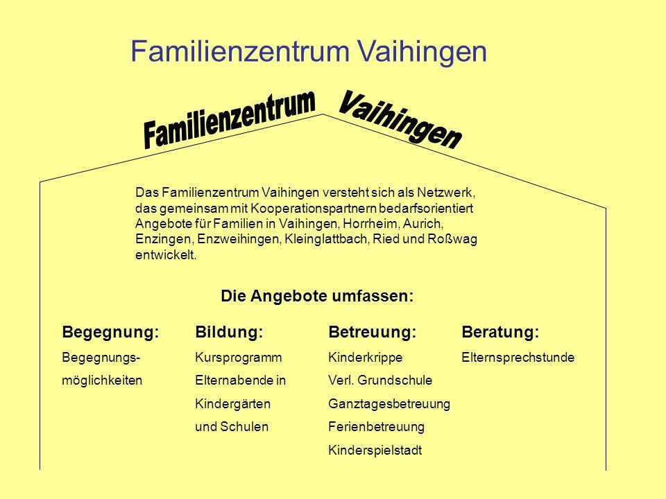 Familienzentrum Vaihingen Das Familienzentrum Vaihingen versteht sich als Netzwerk, das gemeinsam mit Kooperationspartnern bedarfsorientiert Angebote