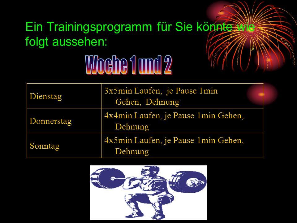 Ein Trainingsprogramm für Sie könnte wie folgt aussehen: Dienstag 3x5min Laufen, je Pause 1min Gehen, Dehnung Donnerstag 4x4min Laufen, je Pause 1min
