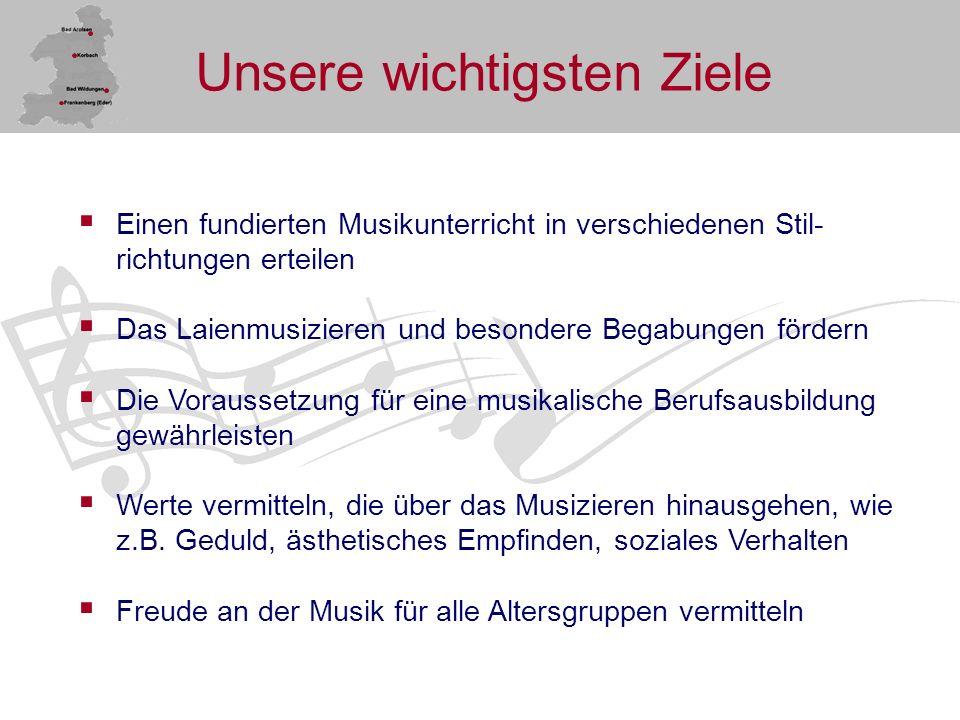 Beginn der Musikschularbeit Oktober 1978 begann die erste Unterrichtseinheit in Bad Wildungen Anfang 1980 wurde die Musikschultätigkeit auf die Städte Bad Arolsen und Frankenberg ausgedehnt Ende 1980 wurde in Korbach der erste Unterricht in musikalischer Früherziehung und Grundausbildung aufgenommen Musikschulkreisverband Waldeck-Frankenberg e.V.