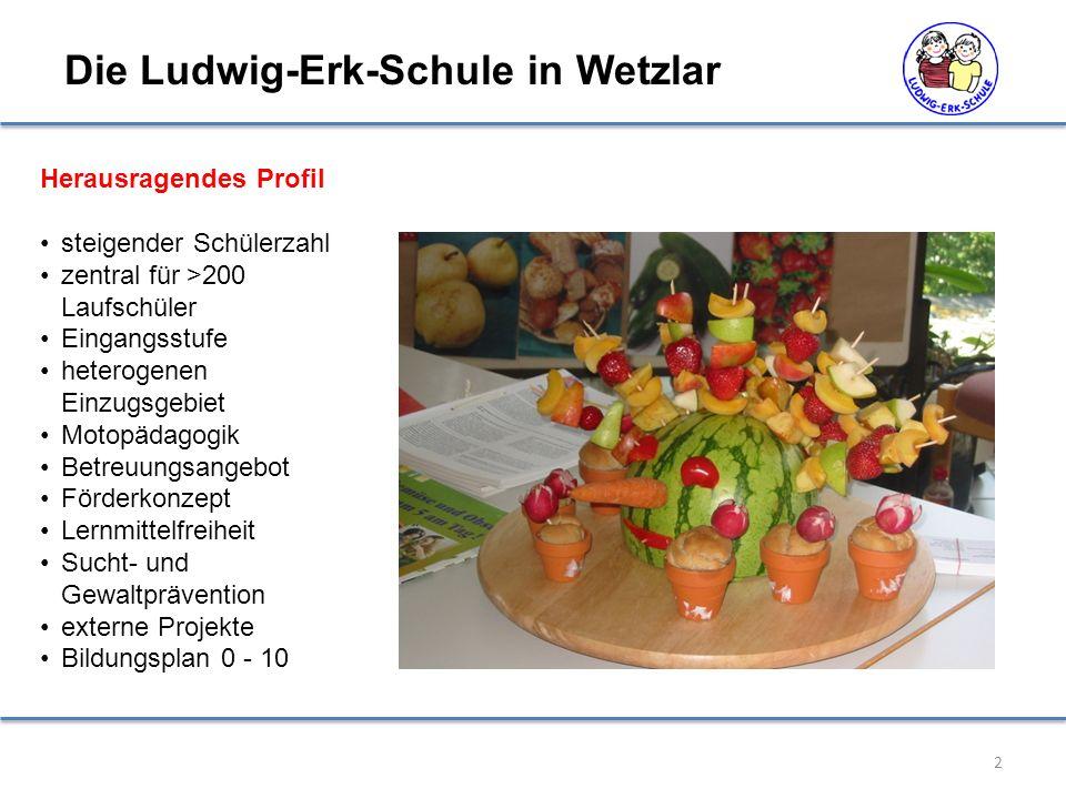 2 Die Ludwig-Erk-Schule in Wetzlar Herausragendes Profil steigender Schülerzahl zentral für >200 Laufschüler Eingangsstufe heterogenen Einzugsgebiet M
