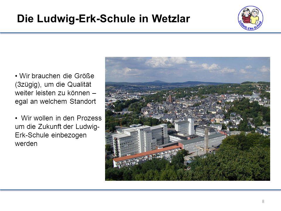 Wir brauchen die Größe (3zügig), um die Qualität weiter leisten zu können – egal an welchem Standort Wir wollen in den Prozess um die Zukunft der Ludwig- Erk-Schule einbezogen werden Die Ludwig-Erk-Schule in Wetzlar 8