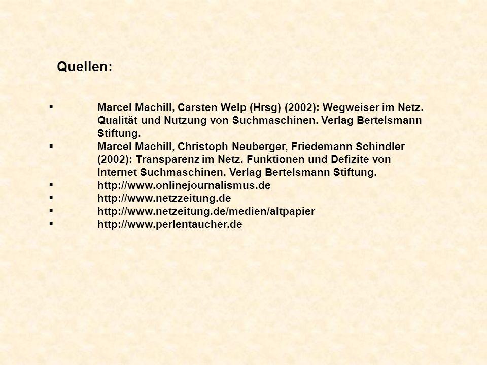 Quellen: Marcel Machill, Carsten Welp (Hrsg) (2002): Wegweiser im Netz.