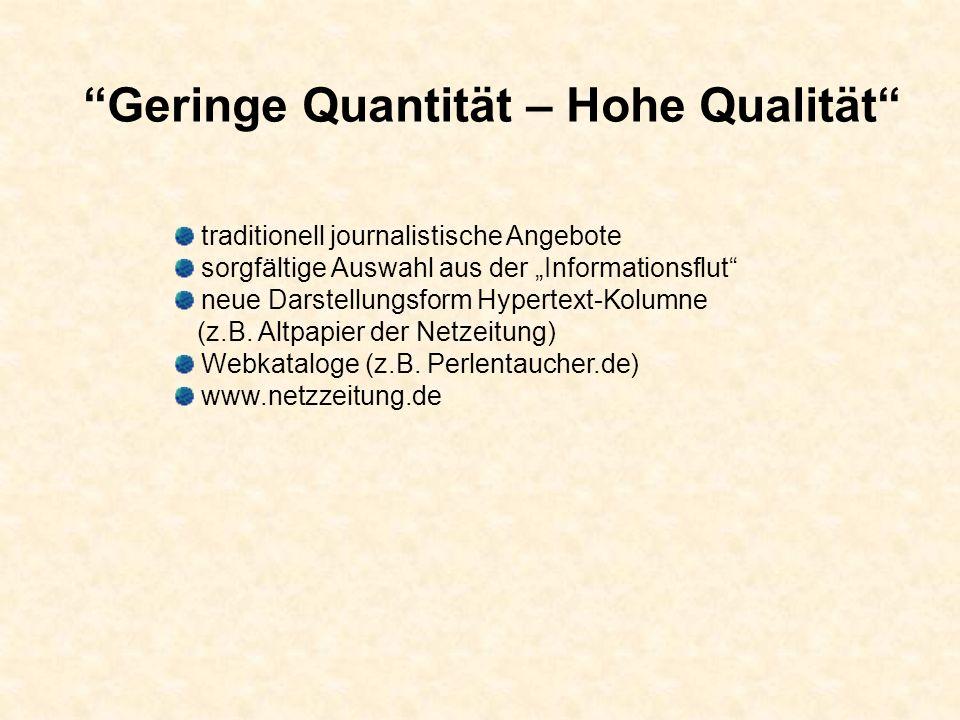 Geringe Quantität – Hohe Qualität traditionell journalistische Angebote sorgfältige Auswahl aus der Informationsflut neue Darstellungsform Hypertext-Kolumne (z.B.