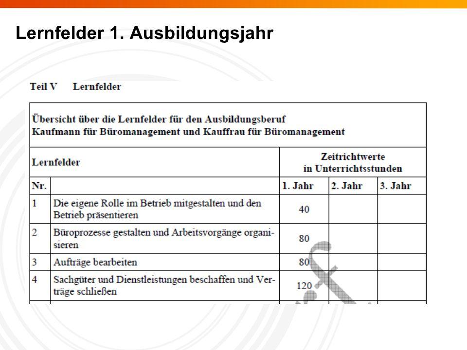Lernfelder 1. Ausbildungsjahr