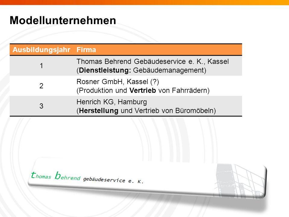 Modellunternehmen AusbildungsjahrFirma 1 Thomas Behrend Gebäudeservice e.