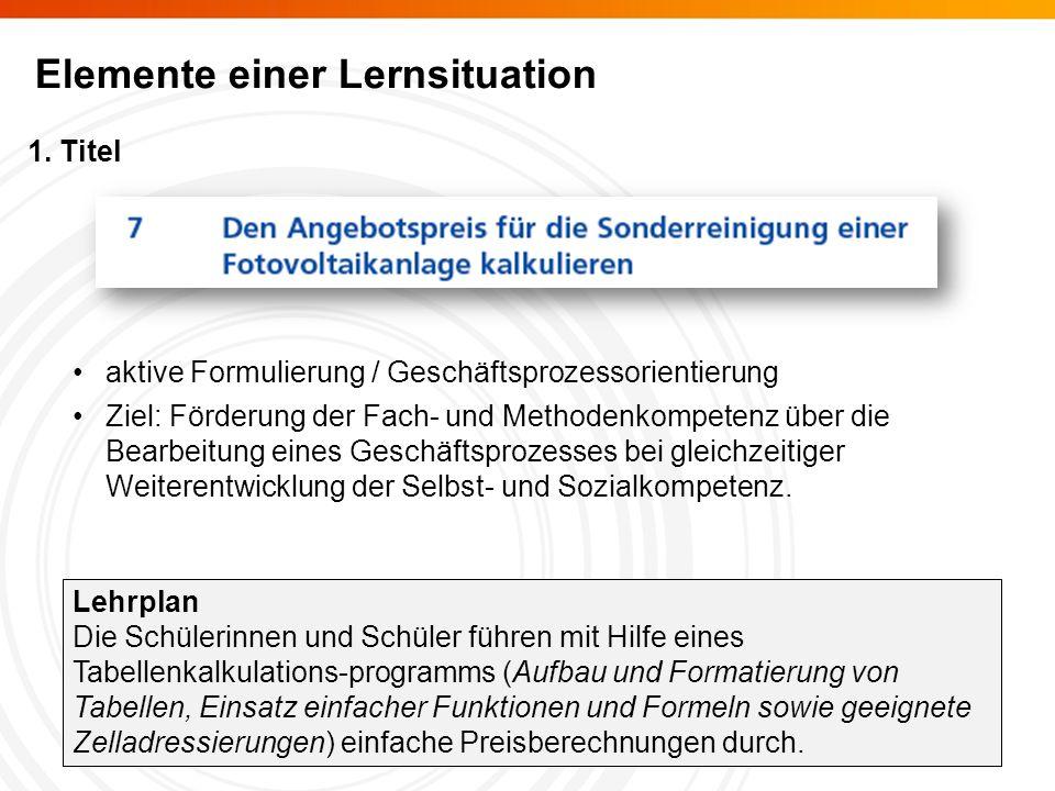 Elemente einer Lernsituation 1.