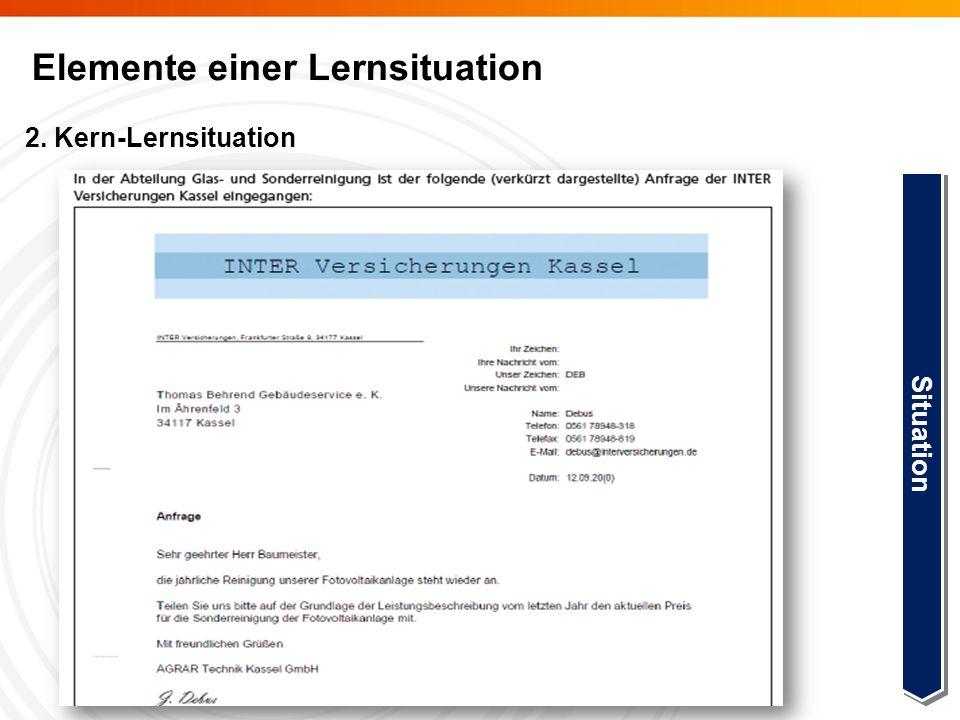 Elemente einer Lernsituation 2. Kern-Lernsituation Step 2 Situation