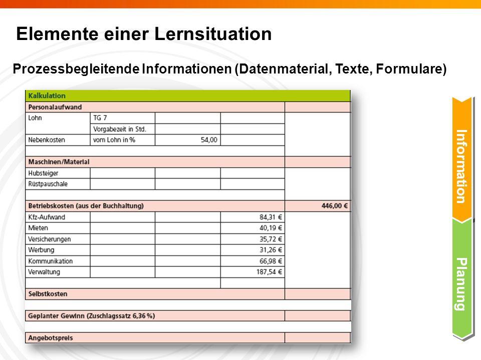 Elemente einer Lernsituation Prozessbegleitende Informationen (Datenmaterial, Texte, Formulare) Information Planung