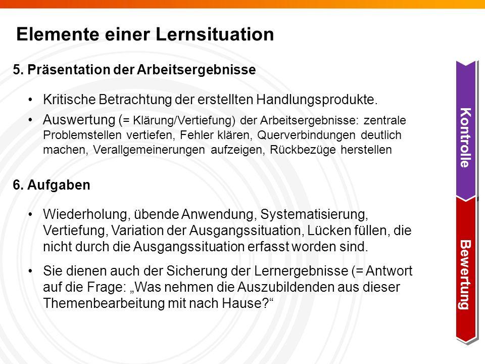 Elemente einer Lernsituation 5.