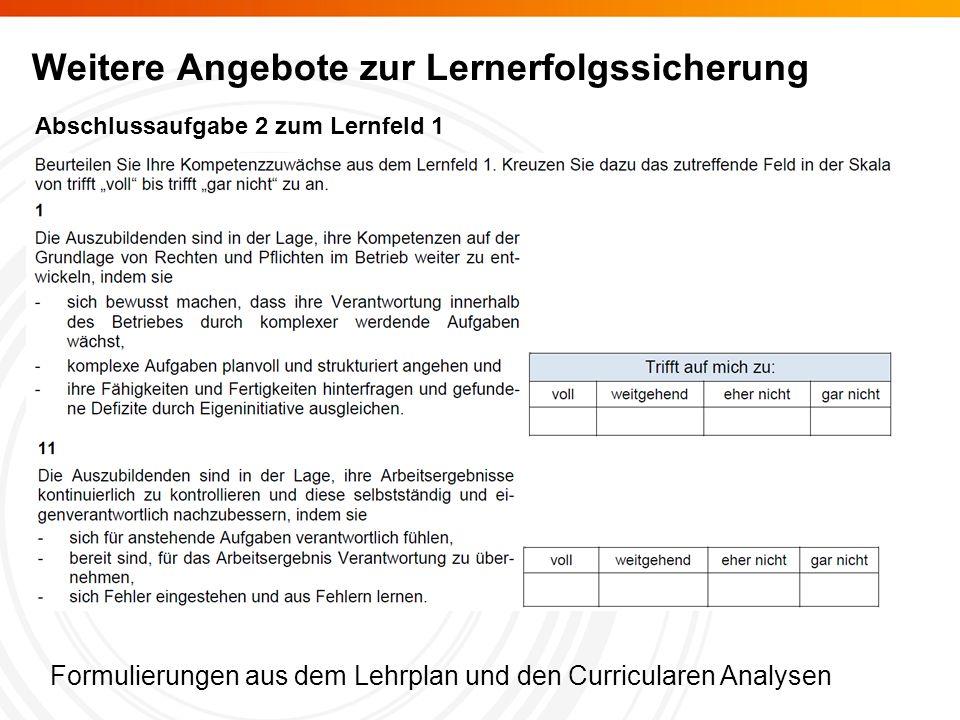 Abschlussaufgabe 2 zum Lernfeld 1 Formulierungen aus dem Lehrplan und den Curricularen Analysen