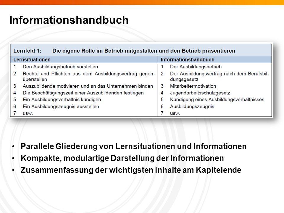 Informationshandbuch Parallele Gliederung von Lernsituationen und Informationen Kompakte, modulartige Darstellung der Informationen Zusammenfassung der wichtigsten Inhalte am Kapitelende