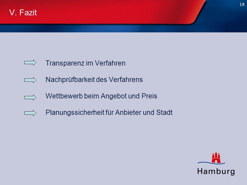 18 V. Fazit Transparenz im Verfahren Nachprüfbarkeit des Verfahrens Wettbewerb beim Angebot und Preis Planungssicherheit für Anbieter und Stadt