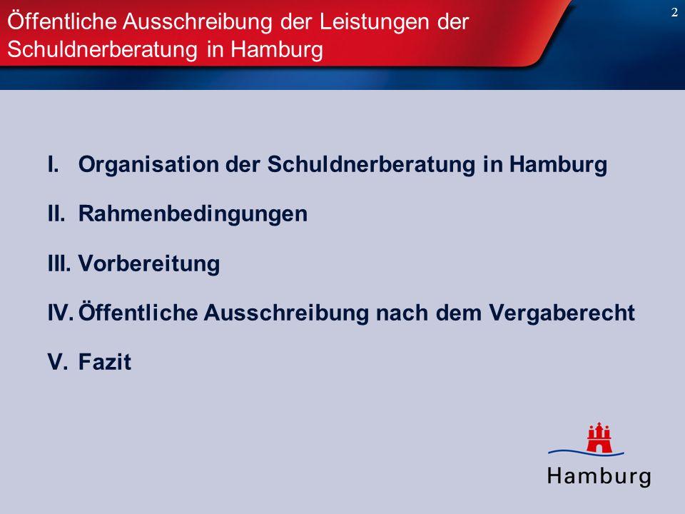 2 Öffentliche Ausschreibung der Leistungen der Schuldnerberatung in Hamburg I.Organisation der Schuldnerberatung in Hamburg II.Rahmenbedingungen III.V