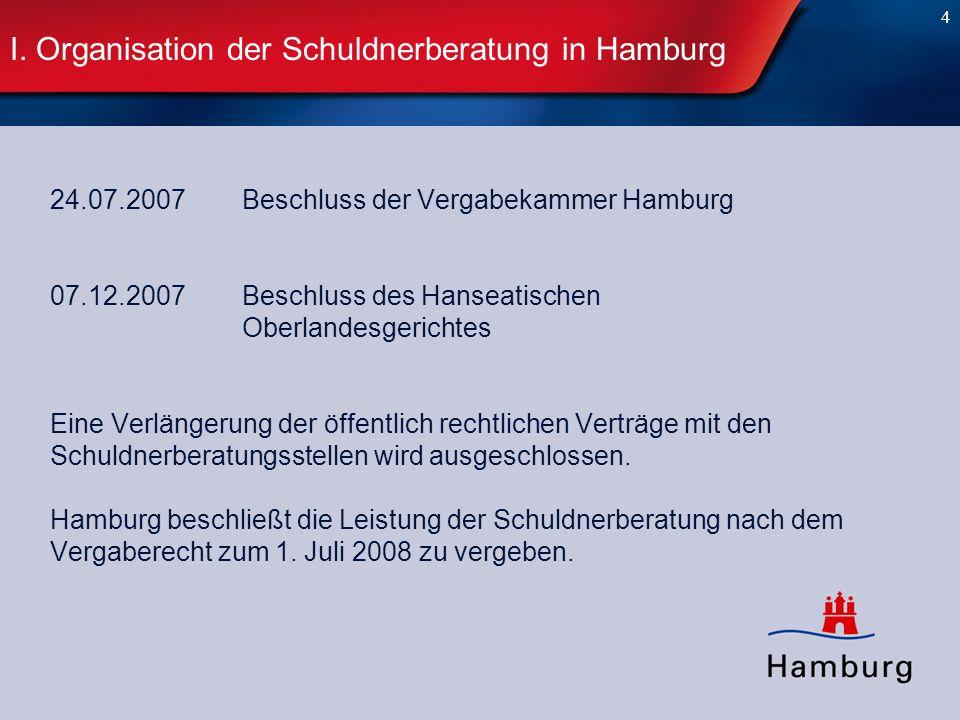 4 I. Organisation der Schuldnerberatung in Hamburg 24.07.2007Beschluss der Vergabekammer Hamburg 07.12.2007Beschluss des Hanseatischen Oberlandesgeric