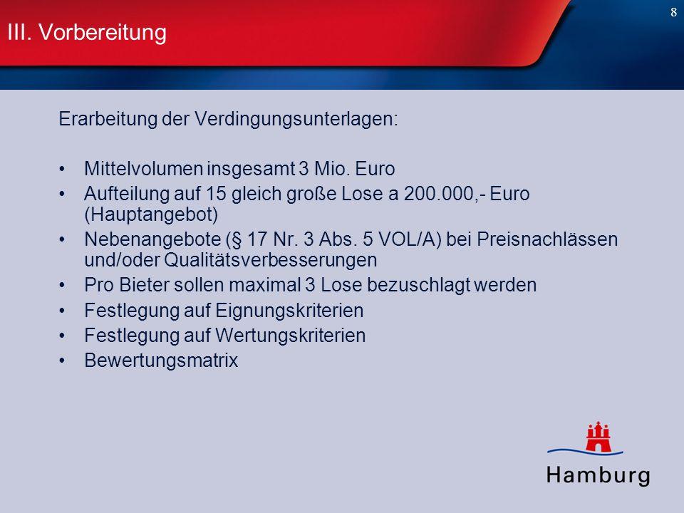 8 III. Vorbereitung Erarbeitung der Verdingungsunterlagen: Mittelvolumen insgesamt 3 Mio. Euro Aufteilung auf 15 gleich große Lose a 200.000,- Euro (H