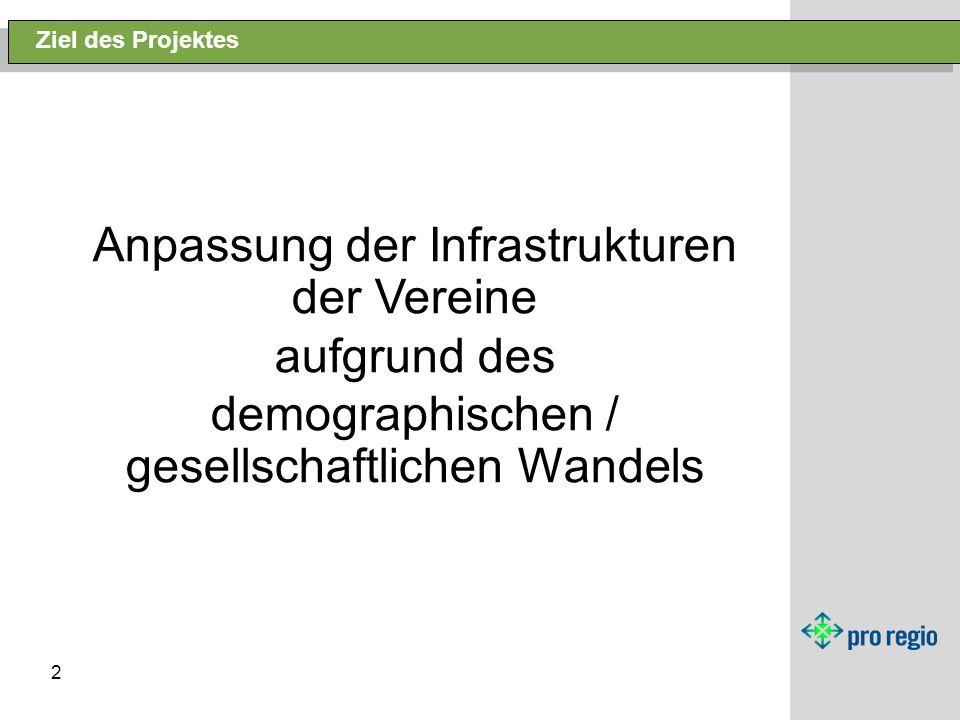 2 Ziel des Projektes Anpassung der Infrastrukturen der Vereine aufgrund des demographischen / gesellschaftlichen Wandels