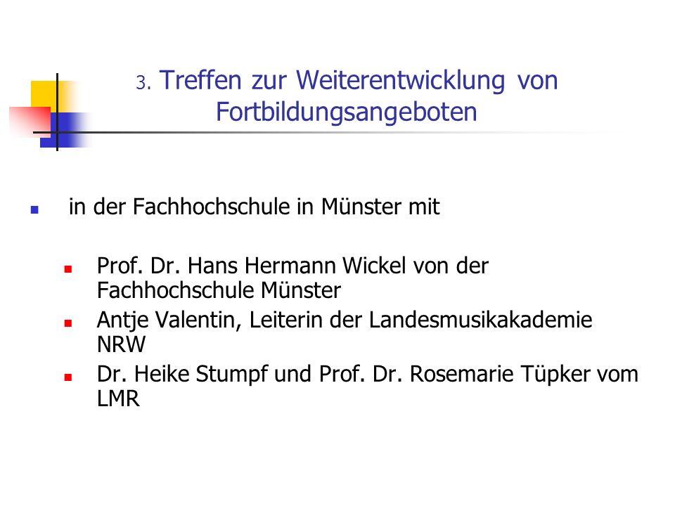 3. Treffen zur Weiterentwicklung von Fortbildungsangeboten in der Fachhochschule in Münster mit Prof. Dr. Hans Hermann Wickel von der Fachhochschule M