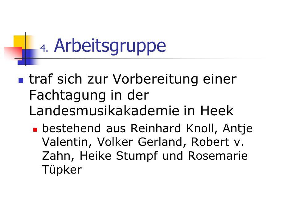 4. Arbeitsgruppe traf sich zur Vorbereitung einer Fachtagung in der Landesmusikakademie in Heek bestehend aus Reinhard Knoll, Antje Valentin, Volker G