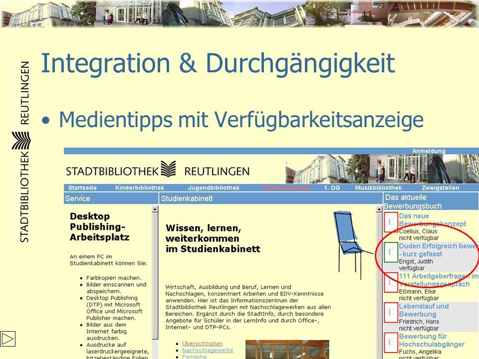 Integration & Durchgängigkeit Medientipps mit Verfügbarkeitsanzeige