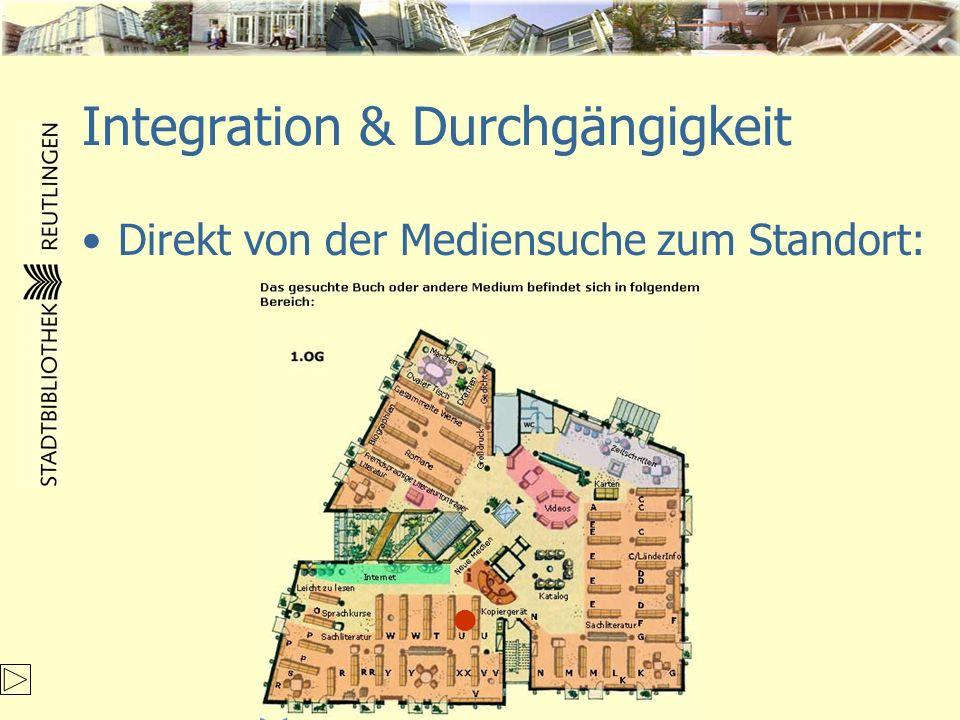 Integration & Durchgängigkeit Direkt von der Mediensuche zum Standort: