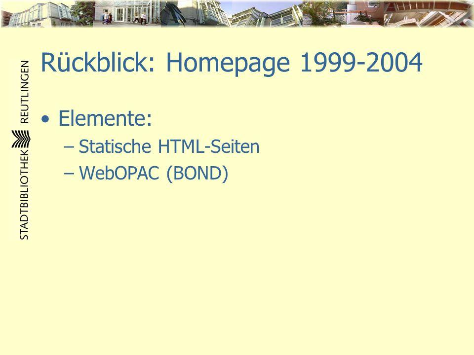 Rückblick: Homepage 1999-2004 Elemente: –Statische HTML-Seiten –WebOPAC (BOND)