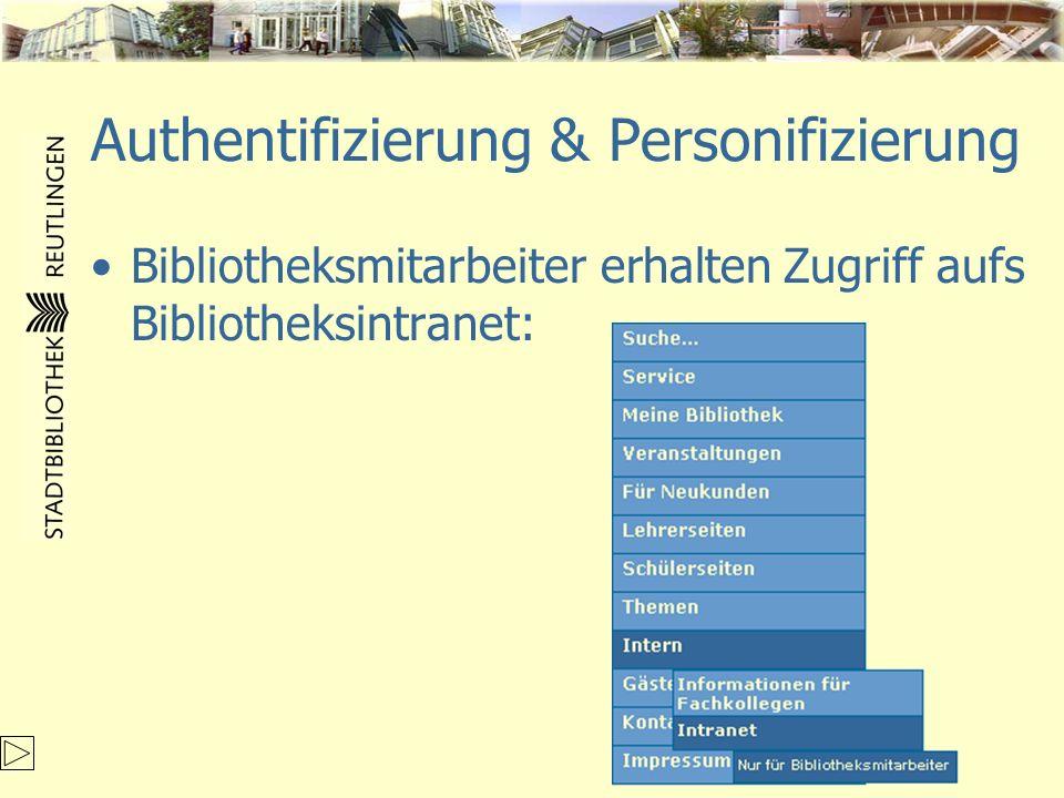 Authentifizierung & Personifizierung Bibliotheksmitarbeiter erhalten Zugriff aufs Bibliotheksintranet: