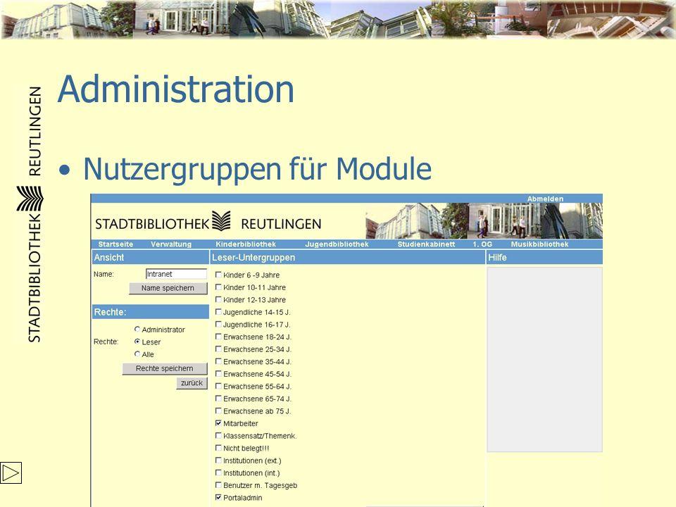 Administration Nutzergruppen für Module