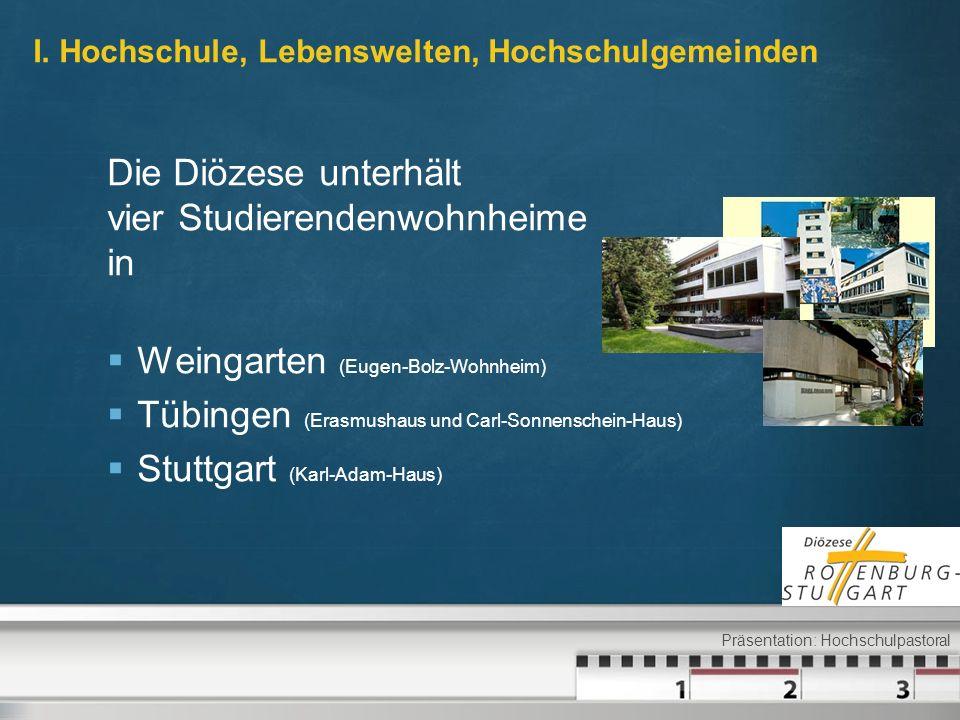 I. Hochschule, Lebenswelten, Hochschulgemeinden Die Diözese unterhält vier Studierendenwohnheime in Weingarten (Eugen-Bolz-Wohnheim) Tübingen (Erasmus
