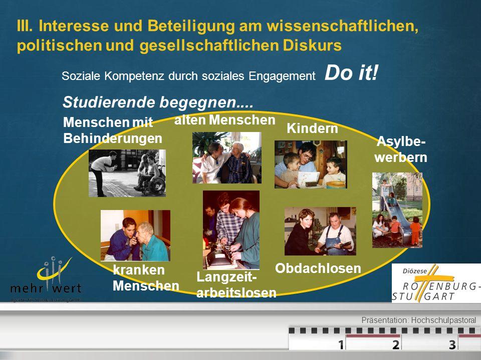 Soziale Kompetenz durch soziales Engagement Do it! alten Menschen Asylbe- werbern Obdachlosen Menschen mit Behinderungen Langzeit- arbeitslosen Kinder