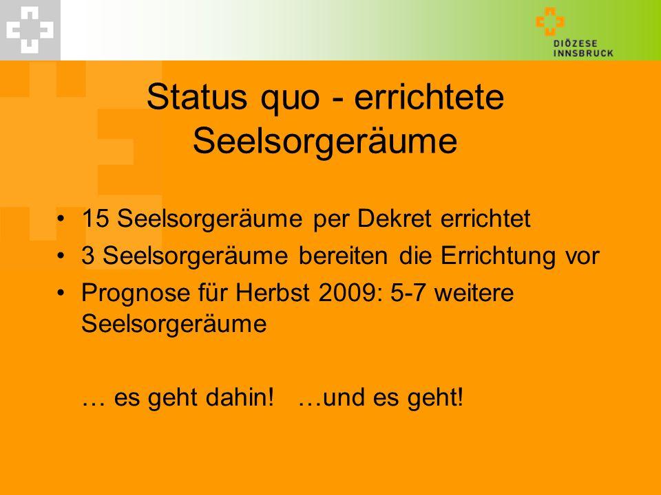 Status quo - errichtete Seelsorgeräume 15 Seelsorgeräume per Dekret errichtet 3 Seelsorgeräume bereiten die Errichtung vor Prognose für Herbst 2009: 5-7 weitere Seelsorgeräume … es geht dahin.