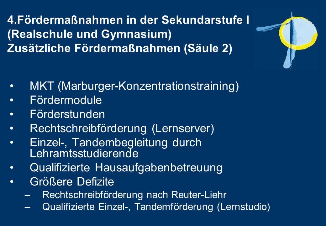 4.Fördermaßnahmen in der Sekundarstufe I (Realschule und Gymnasium) Zusätzliche Fördermaßnahmen (Säule 2) MKT (Marburger-Konzentrationstraining) Fördermodule Förderstunden Rechtschreibförderung (Lernserver) Einzel-, Tandembegleitung durch Lehramtsstudierende Qualifizierte Hausaufgabenbetreuung Größere Defizite –Rechtschreibförderung nach Reuter-Liehr –Qualifizierte Einzel-, Tandemförderung (Lernstudio)