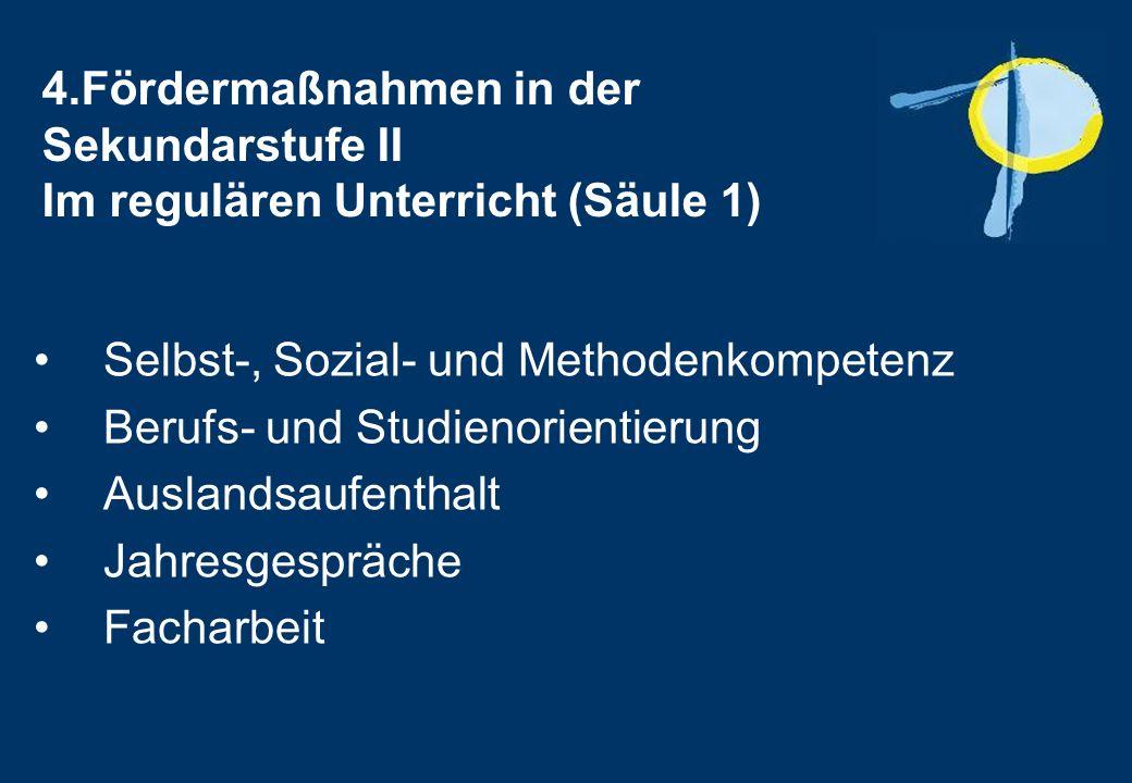 4.Fördermaßnahmen in der Sekundarstufe II Im regulären Unterricht (Säule 1) Selbst-, Sozial- und Methodenkompetenz Berufs- und Studienorientierung Auslandsaufenthalt Jahresgespräche Facharbeit