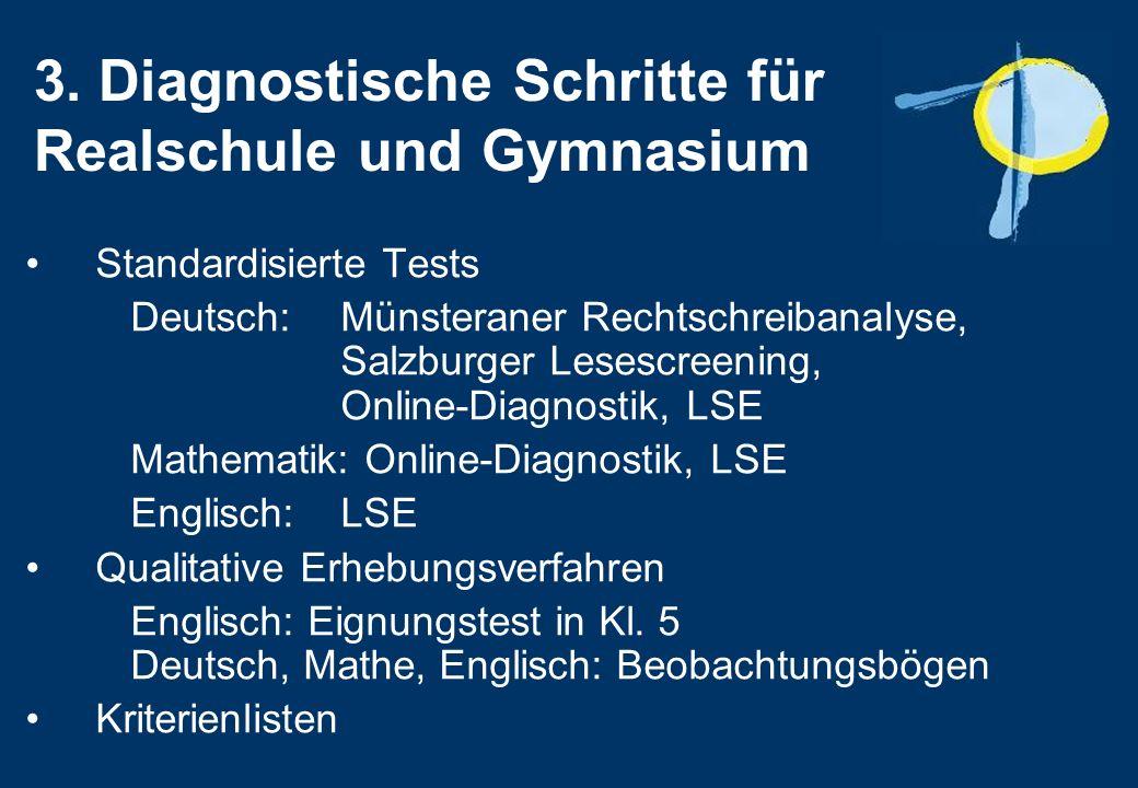 3. Diagnostische Schritte für Realschule und Gymnasium Standardisierte Tests Deutsch: Münsteraner Rechtschreibanalyse, Salzburger Lesescreening, Onlin
