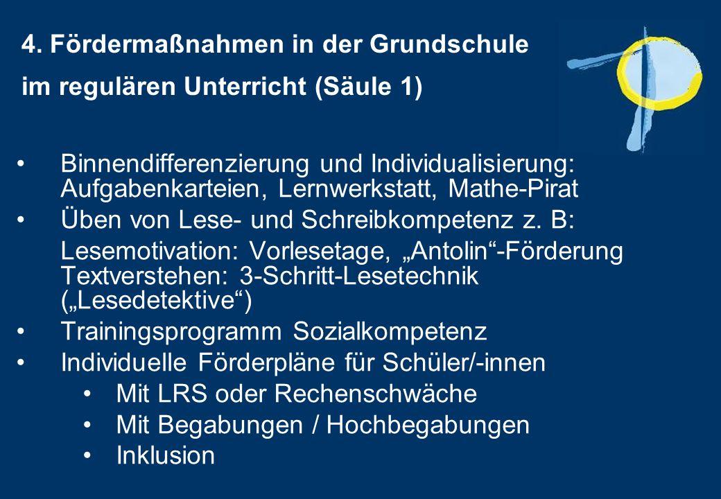 4. Fördermaßnahmen in der Grundschule im regulären Unterricht (Säule 1) Binnendifferenzierung und Individualisierung: Aufgabenkarteien, Lernwerkstatt,