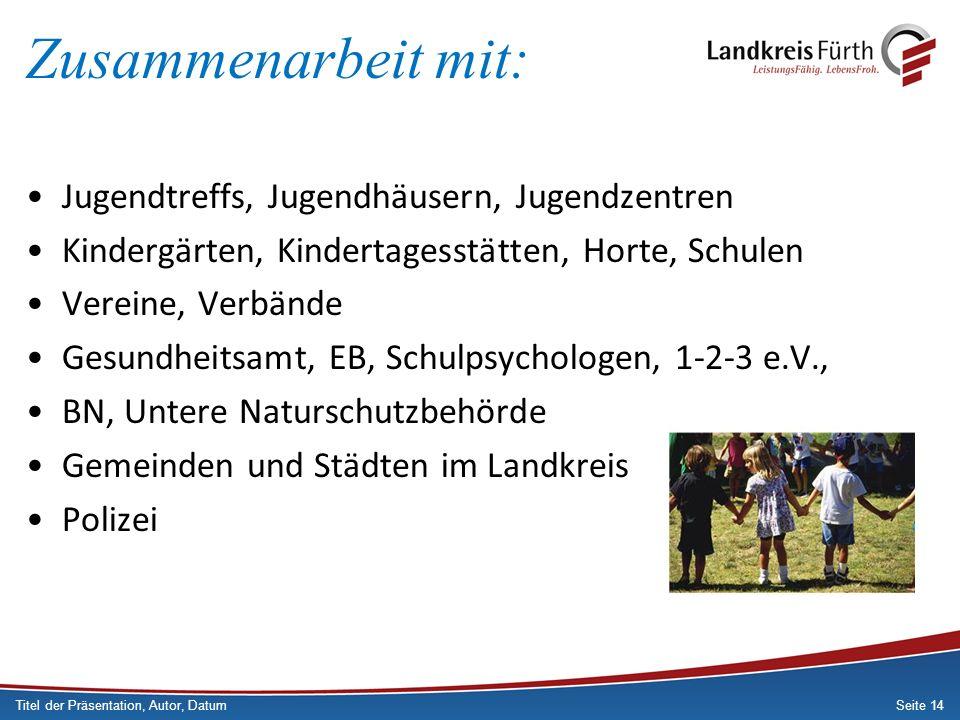 Seite 14 Zusammenarbeit mit: Jugendtreffs, Jugendhäusern, Jugendzentren Kindergärten, Kindertagesstätten, Horte, Schulen Vereine, Verbände Gesundheits